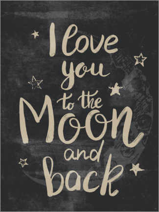 Sticker mural  I love you to the moon and back - Olga Telnova