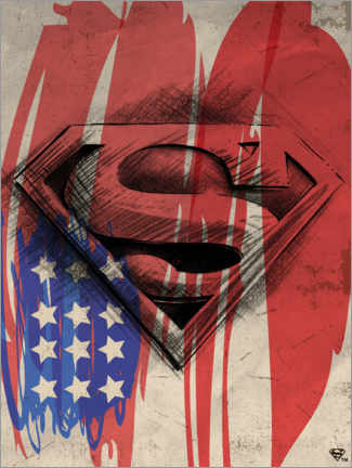 Sticker mural  Superman Shield Sketch