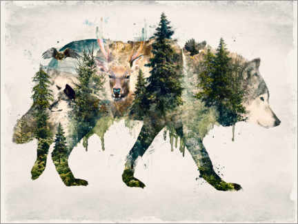 Poster  Walk with wolves - Barrett Biggers