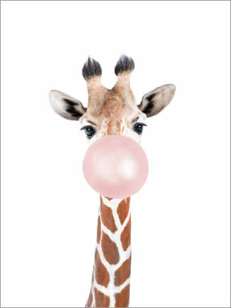 Tableau en verre acrylique  Bubble gum Girafe - Sisi And Seb