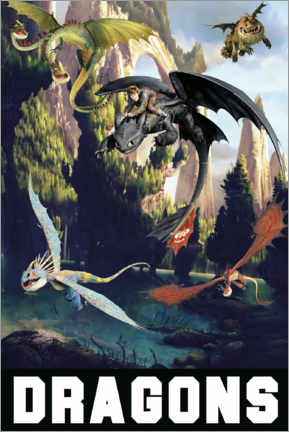 Tableau sur toile  DreamWorks Dragons excursion