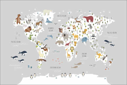 Tableau sur toile  World map wih animals (grey) - Marta Munte