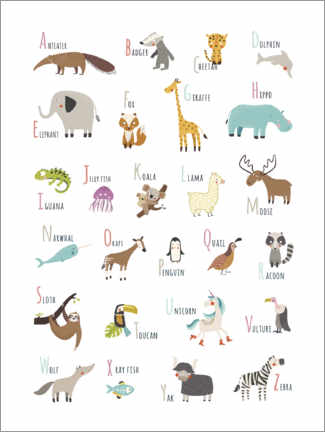Poster  A to Z animal alphabet (english) - Marta Munte