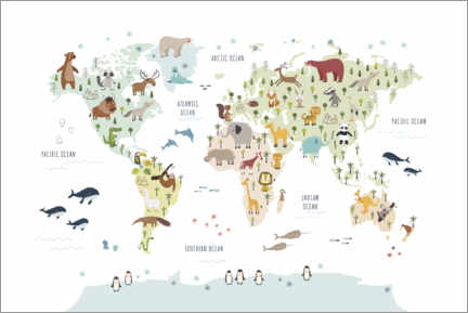 Poster  World map with animals (white) - Marta Munte