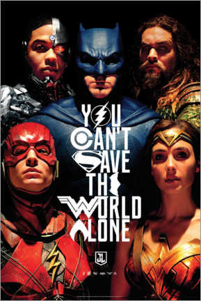 Tableau en plexi-alu  Justice League - Can't save the world alone