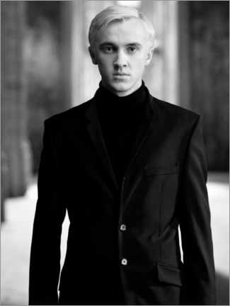 Tableau en bois  The Half-Blood Prince - Draco Malfoy bw portrait