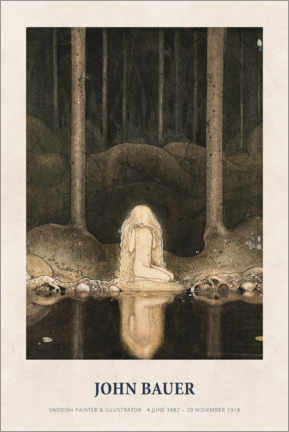 Poster  John Bauer - Princess Tuvstarr gazing down - Museum Art Edition