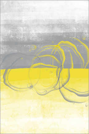 Poster  Lemons yellow-gray - Melanie Viola