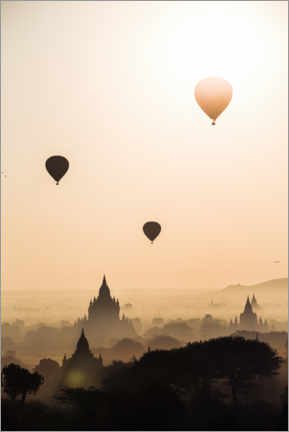 Sticker mural  Balloons over the temples, Burma - Matteo Colombo