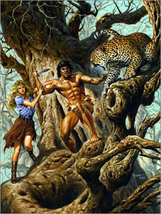 Poster  Tarzan protects Jane from the leopard