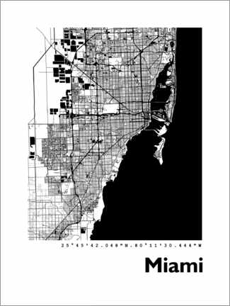 Poster  Map of Miami - 44spaces