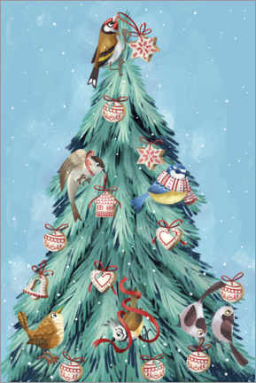 Tableau sur toile  Birds of the forest, decorating the Christmas tree - Leonora Camusso