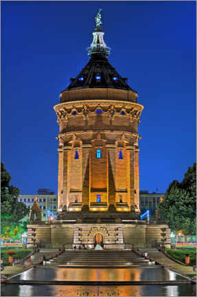 Poster  Lighted Water Tower in Mannheim - FineArt Panorama