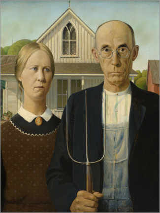 Tableau sur toile  American Gothic - Grant Wood