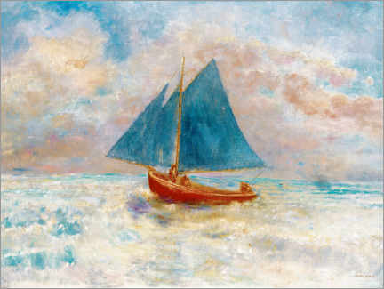 Poster  Red boat with blue sails - Odilon Redon