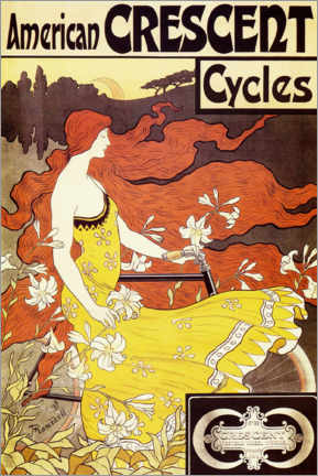 Tableau en aluminium  American Crescent Cycles - Frederick Winthrop Ramsdell