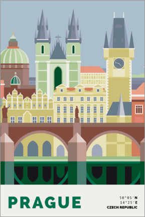 Poster  Prague Skyline - Nigel Sandor