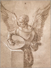 Sticker mural  Angel playing a lute - Albrecht Dürer