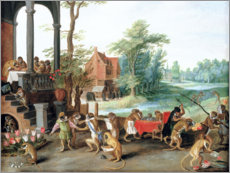 Tableau en bois  A Satire of the Folly of Tulip Mania - Jan Brueghel d.Ä.
