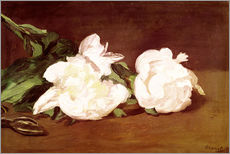 Sticker mural  Branch of White Peonies and Secateurs - Edouard Manet