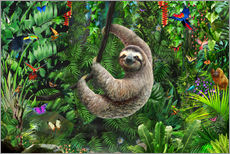 Sticker mural  Sloth in the jungle - Adrian Chesterman