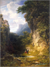 Tableau en plexi-alu  Mountain gorge with bathing women - Carl Spitzweg