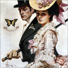 Poster  Couple à la mode victorienne - Joseph Christian Leyendecker