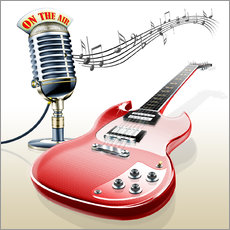 Tableau en plexi-alu  Electric guitar with microphone and music notes - Kalle60