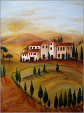 Tableau en plexi-alu  Sunrise in Tuscany - Christine Huwer