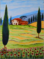 Tableau en plexi-alu  Flowering Poppies of Tuscany 4 - Christine Huwer