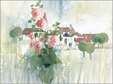 Tableau en plexi-alu  Rural Impression with hollyhocks - Franz Heigl