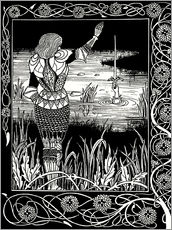 Sticker mural  How Sir Bedivere Cast the Sword Excalibur into the Water - Aubrey Vincent Beardsley