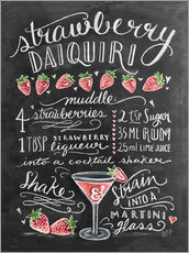 Sticker mural  Recette du Strawberry Daiquiri (anglais) - Lily & Val