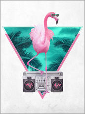 Tableau en plexi-alu  Flamant rose Miami - Robert Farkas