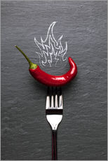 Tableau en plexi-alu  red chili peppers with fire - pixelliebe