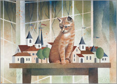 Tableau en plexi-alu  View of the cat - Franz Heigl
