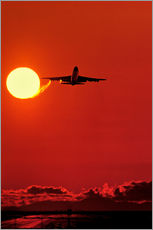 Sticker mural Boeing 747 taking off at sunset