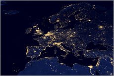 Sticker mural  Photo satellite de l'europe la nuit - Nasa