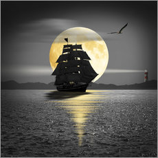 Sticker mural A ship with black sails