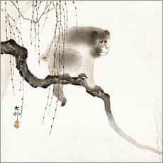Sticker mural  Japanese macaque on a tree - Ohara Koson
