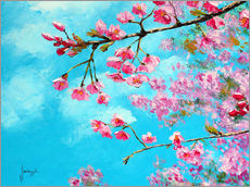 Sticker mural  Cherry blossom Blue - Jean-Marc Janiaczyk