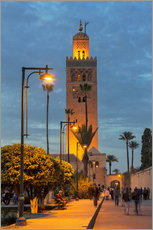 Tableau en plexi-alu  The Minaret of Koutoubia Mosque illuminated at night, UNESCO World Heritage Site, Marrakech, Morocco - Martin Child