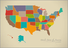 Tableau en plexi-alu  Modern Map of USA Artwork Design - Ingo Menhard
