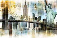 Tableau en plexi-alu  Skyline de New York I - Städtecollagen