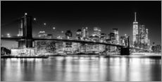 Sticker mural Skyline de New York City avec le pont de Brooklyn (monochrome)