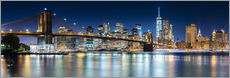 Sticker mural Vue panoramique de New York la nuit
