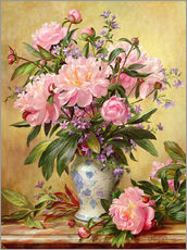 Tableau en plexi-alu  Vase de pivoines et cloches de Canterbury - Albert Williams