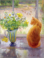Sticker mural  Cat with Flowers in the window - Timothy Easton