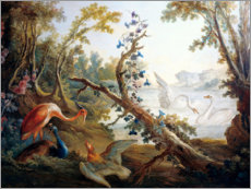 Sticker mural  Lake with swans, a flamingo and a peacock - François Boucher