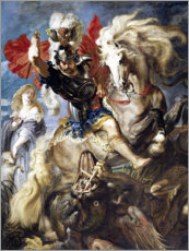 Tableau en plexi-alu  St. George and the Dragon - Peter Paul Rubens